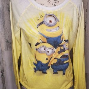 DISPICABLE ME Women's Yellow Cartoon Long Sleeve M